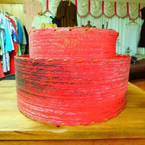 "RED 2 tier Fiberglass Lampshade MCM  7"" Tall  #SE"